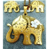 custom necklace Lovely elephant flowers earring pendant stainless steel 18k gold plated