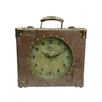 "12"" vintage style leather coated suitcase wooden mantel clock"
