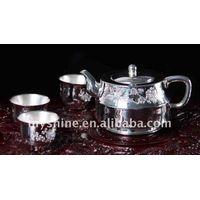 handmade engraved tea set in 990 silver thumbnail image