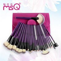 24 Pieces Fine Fiber Cosmetic Makeup Brush Set Raw Wood Handle