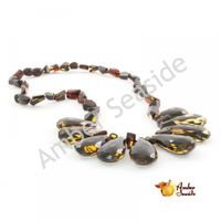 "Amber Necklace ""Faceted Green Raindrops"""