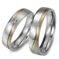 :Fashion CZ couple ring with ripple