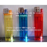 FH-218 super big lumbo lighter disposable flint lighter with LED/flashlight