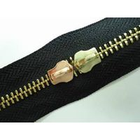 5#Golden brass zipper with two slider