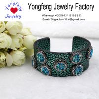 gorgeous leather cuff stone bracelet