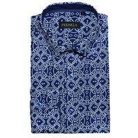 Causal shirt cotton regular fit printing flower point collar men shirt thumbnail image
