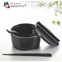 6 inch melamine Japanese food style imitation porcelain ramen noodle bowl with cover dinnerware sets