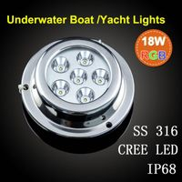ip68 18w cree led underwater lights for boat/yacht/pool ss316 housing