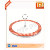 single-deck glass food holder with colorful pattern thumbnail image