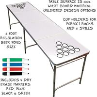 8-Foot Dry Erase Surface Free Design Beer Pong Table with Optional Cup Holes thumbnail image