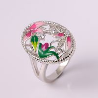 Jewelry Wholesale Party Jewelry For Women 925 Silver Enamel Ring lotus Flower