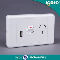 SAA approval australian standard electric double power points electrical wall switch with usb socket