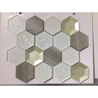 Foshan high quality wall hexagon glass mix ceramic mosaic tiles