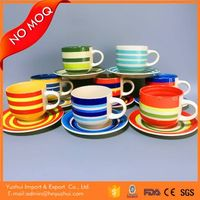 chile hot sell coffee cups and saucers,12 pcs 350CC handpainted cup and saucer