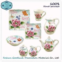 Hand Drawn Pink Flower Turkish Porcelain Royal Dinner Set