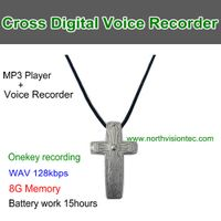VR08,Cross Digital Voice Recorder,8G Memory/WAV/ 128Kbps, Time Set,Battery 15hours,One Key Recording