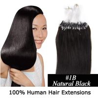 "100S 24"" NATURAL BLACK(#1B) 0.7G/1.0G/1.4G MICRO LOOP REMY HUMAN HAIR EXTENSIONS"