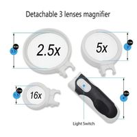 Interchangeable Three Lens Handheld Magnifier with Two Led thumbnail image