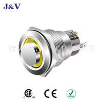 J&V Metal High Head Self-locking White Wave Metal Push Button Switch 22mm