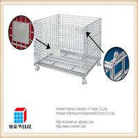 heavy duty metal wire mesh container rolling