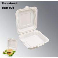 100% Degradation Compostable Disposable Cornstarch Tableware Take out Food Box