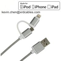 2in1 Cable Micro usb to 8 Pin Adapter Cable For iPhone 5/5s 6/6s 7/7plus iPad and Android Smart Phon thumbnail image