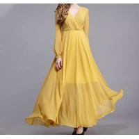 2020 Spring Summer New look fashion long sleeve women yellow elegant maxi dress thumbnail image