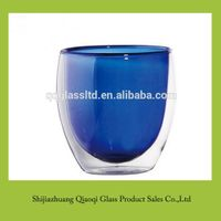 Mini smaller blue Borosilicate glass cup