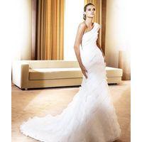 wholesale Glamorous Multi-layer Train Mermaid Trumpet One-shoulder Wedding Dress D62852 thumbnail image