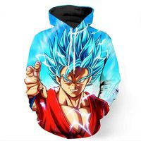 wholesale Anime 3D Hood Sweatshirt Men Dragon Ball Z Super Saiyan Printed Mens Hoodies and Sweatsh