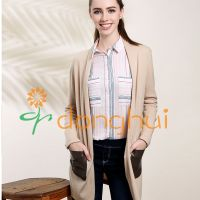 Ladies long simple style cashmere with wool cardigans without buttons