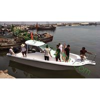 8.6m fiberglass fishing boat with two engines