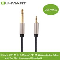 "3.5mm 1/8"" Male to 6.35mm 1/4"" Male Stereo Audio Cable with Zinc Alloy Housing and Nylon Braid"