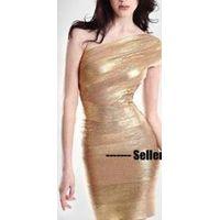 Wholesale One Shoulder Gold Bandage Dress Bodycon thumbnail image