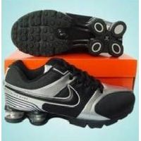 Black/Silver Man Nike Shox R4 Black Logo Mesh & Leather Sport Shoes thumbnail image