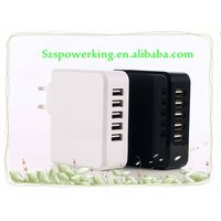 5ports wall charger 5V 6.8A USB adapter with EU, US plug