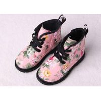Leather PU Children Boots For Kids Girls Flower Design Winter Child Girl fluffy Ankle Snow Boot