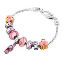 925 Sterling Silver Plated European Charm Snake Chain Bracelet for Women