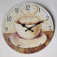 Coffee dial MDF wall clock wood clock 34X34