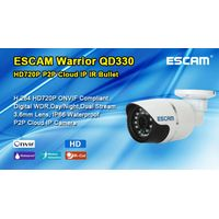 "ESCAM 1/4""CMOS Warrior QD330 1.0MP IR 15m Lux (IR on) onvif 1mp p2p ip camera"