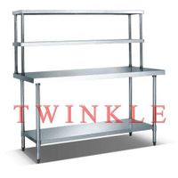 with 2 double overshelf stainless steel work bench