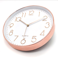 12 inch hot sale rose gloden plastic wall clock