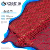 Polyester corrugated mesh fabric Warp knitted jacquard mesh fabric Retro Chinese style lace mesh fab