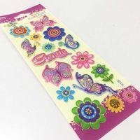 Custom Flower Puffy Stickers Newest Butterfly Decorative Sticker