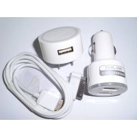 NEW design 3 in 1 kit for iphone ,iPad USB/AC/Car Charger Adapters with US Plug (White)