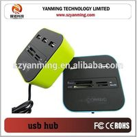 3 port usb hub with usb 2.0 card reader combo