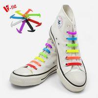Colorful flat elastic shoelaces no tie shoelaces for kids 12pcs/set