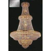 4Ft Long Gold Plated Ballroom Chandelier with Beaded Crystals