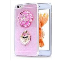 2016 Glitter Rhinestone Case iPhone Case 3D Rose Ring Holder Silicone Cases for iPhone6s iPhone 6 Pl