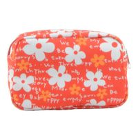 New style floral printing orange travel cosmetic bag for women